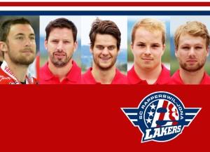 Vlnr: Niki Altorfer, Cyrill Geyer, Cédric Hüsler, Jan Vogel, Reto Schmutz (Grafik: René Schmid/Lakers).