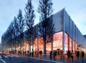 Aussenansicht der geplanten Eishalle (Bild: EHC Visp).